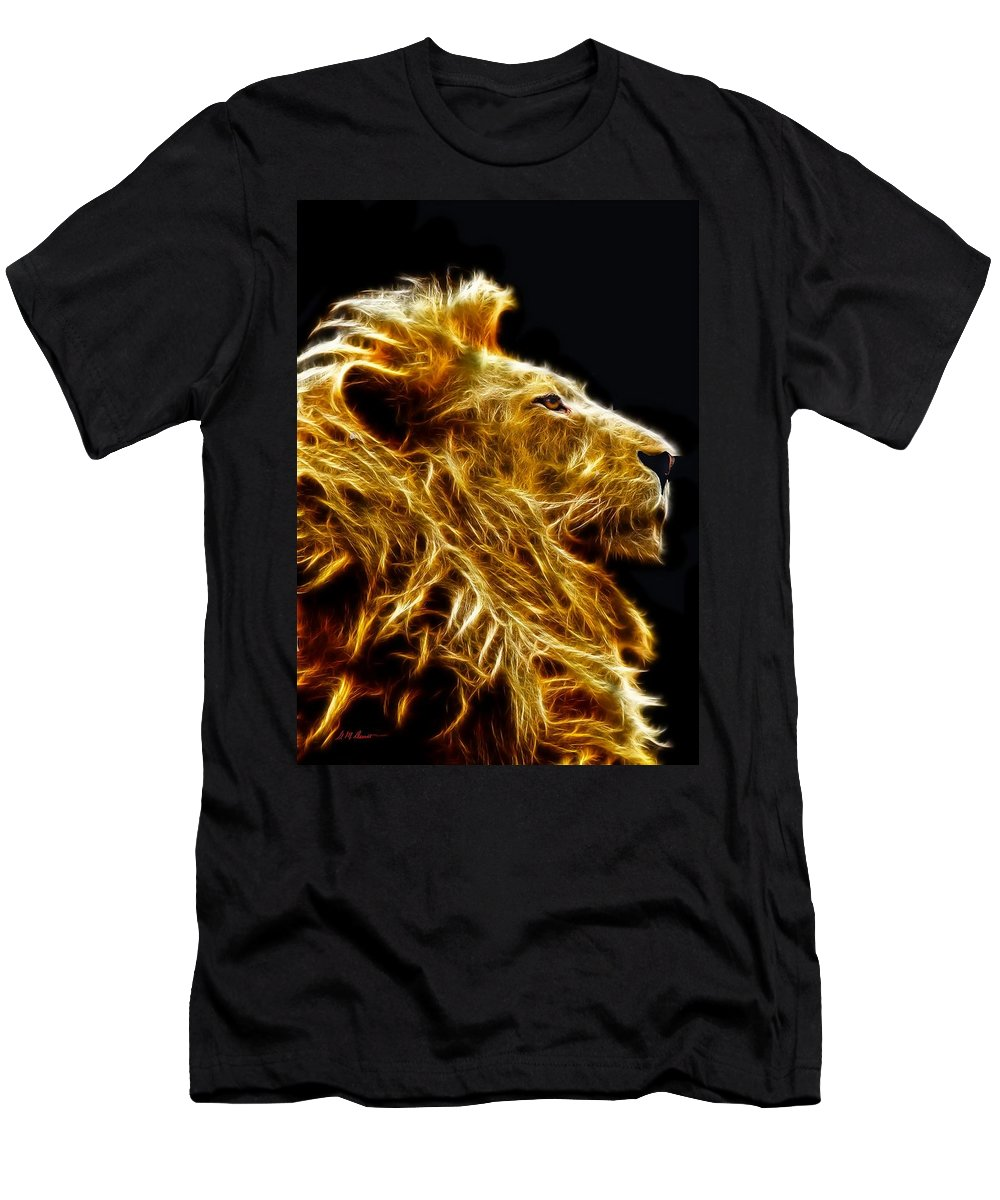 Lion Men's T-Shirt (Athletic Fit) featuring the mixed media Fire Lion by Michael Durst