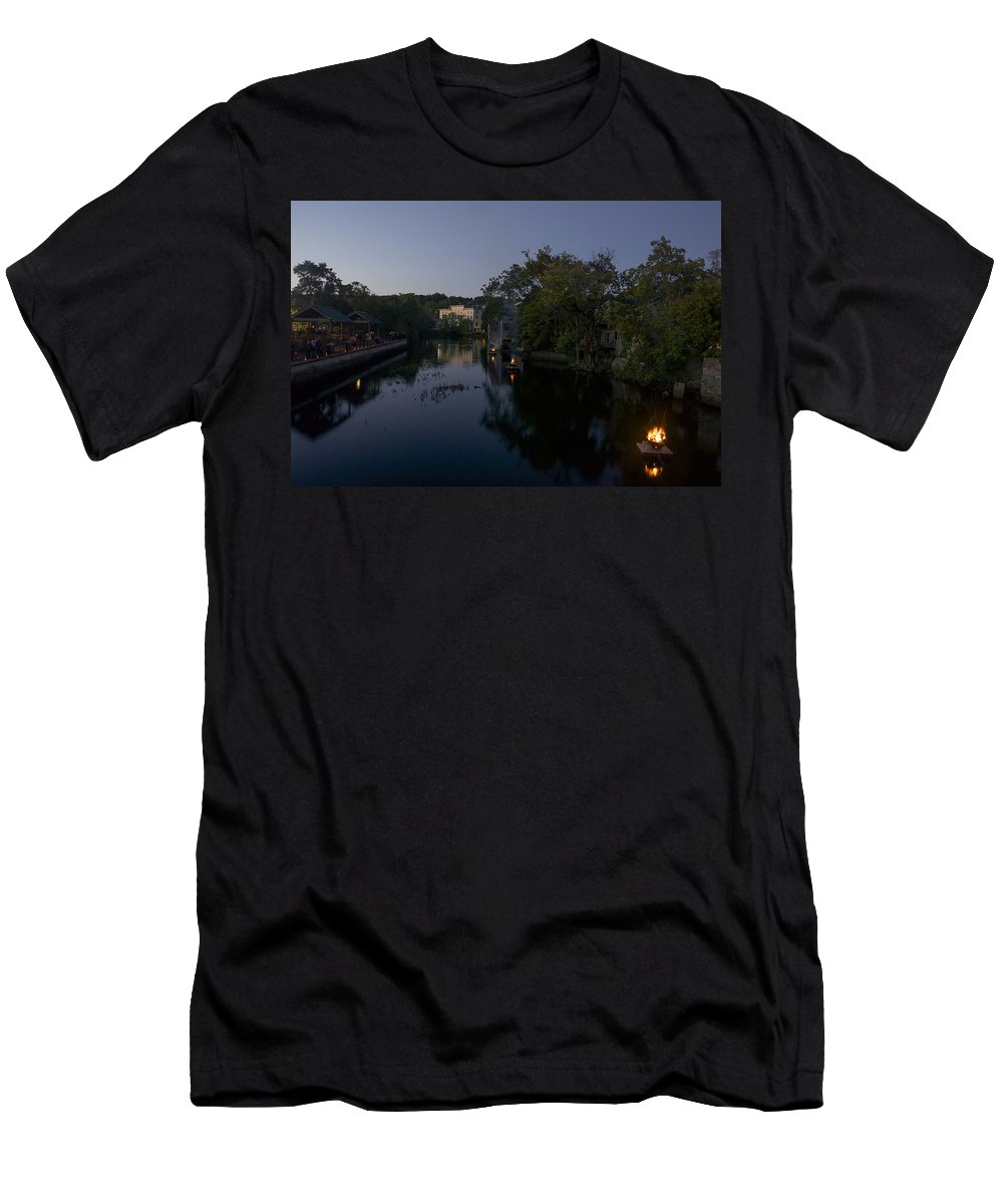 Ipswich Illuminated Men's T-Shirt (Athletic Fit) featuring the photograph Fire On The Water by David Stone