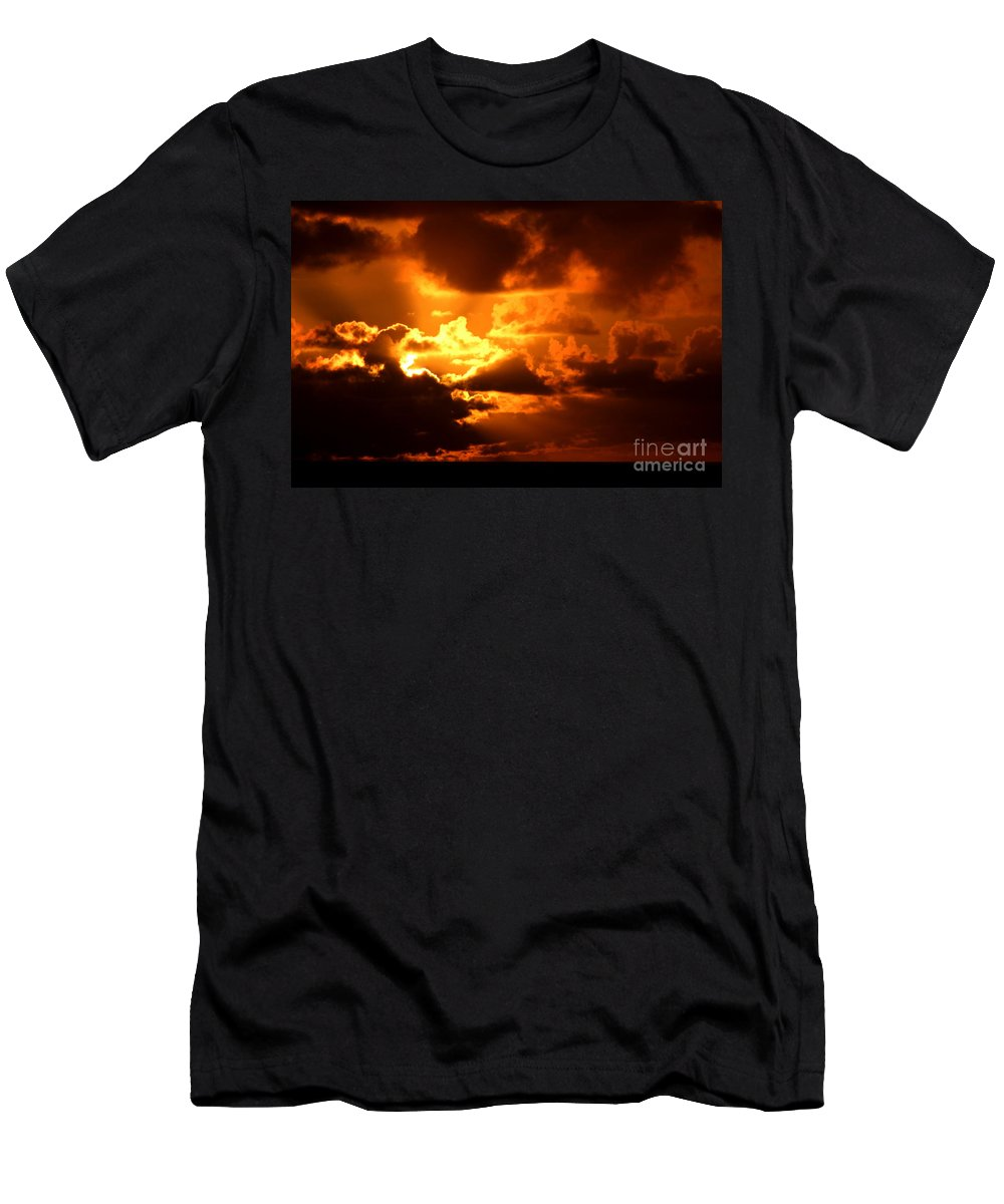 Fire Men's T-Shirt (Athletic Fit) featuring the photograph Fire Over The Ocean by Mary Deal