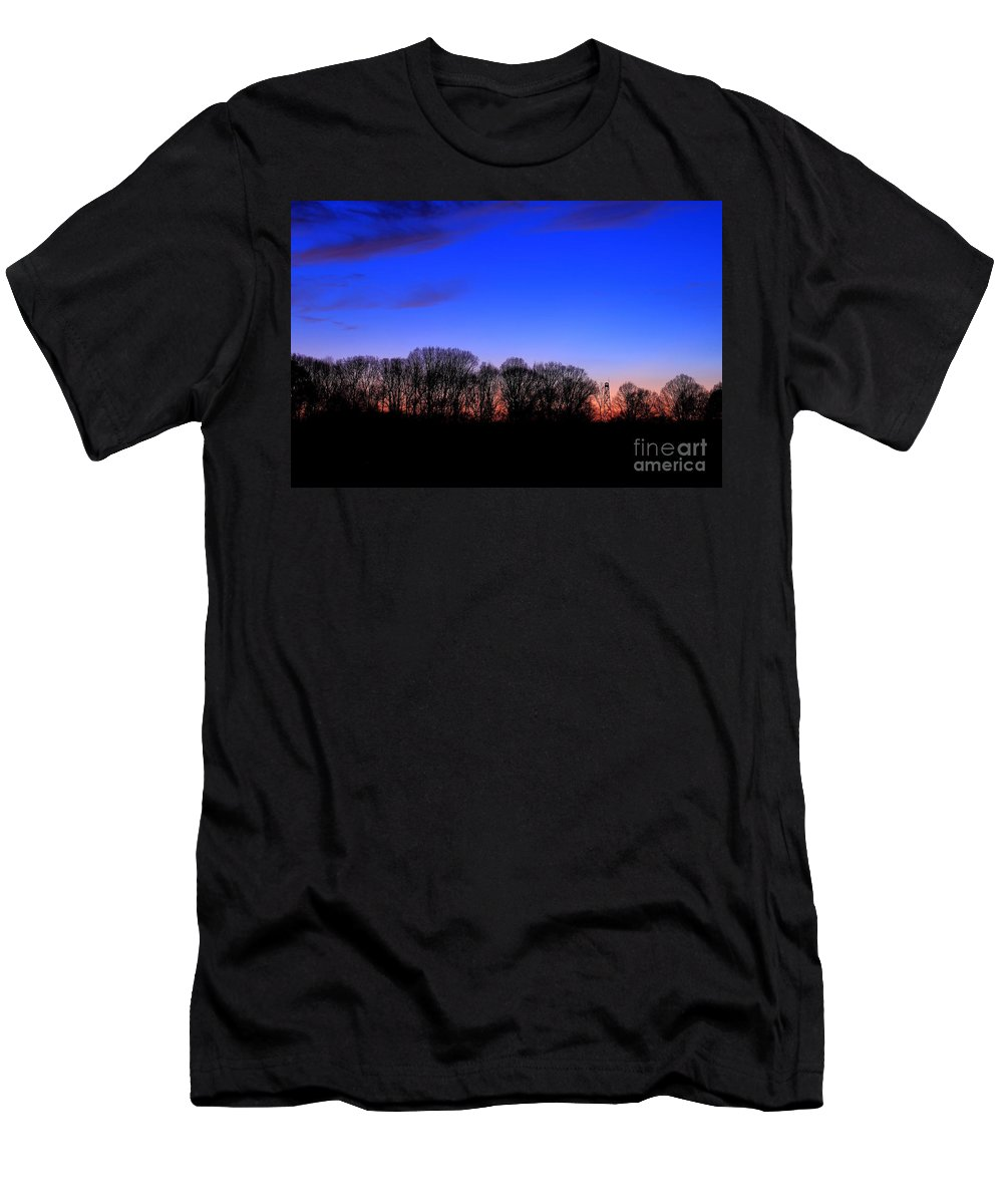 Reid Callaway Fire Tower Men's T-Shirt (Athletic Fit) featuring the photograph Fire Tower Watch In The Distance by Reid Callaway