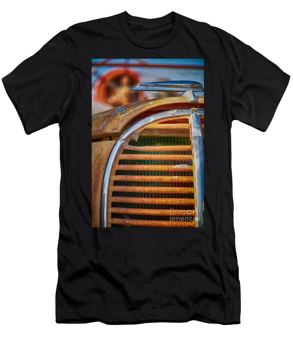 Fire Truck Men's T-Shirt (Athletic Fit) featuring the photograph Fire Truck Grill by Erika Weber