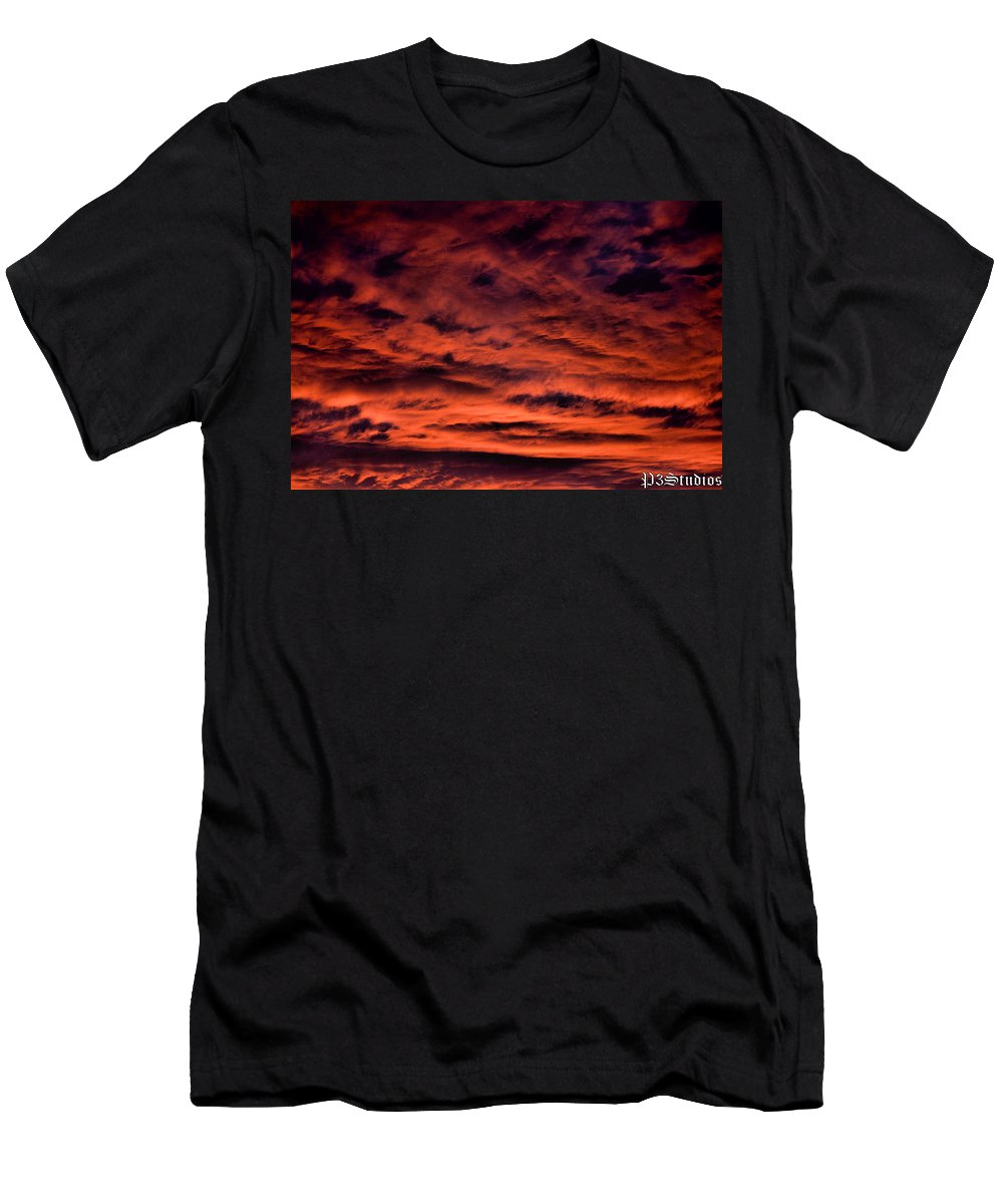 Sunset Men's T-Shirt (Athletic Fit) featuring the photograph Fires At Dusk by Corvus Alyse