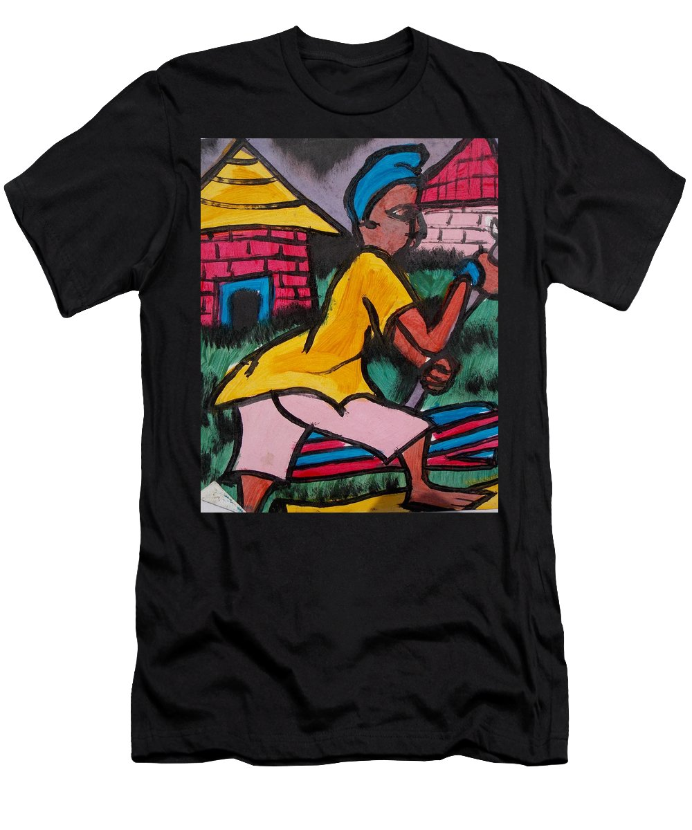 Wood Cutter Men's T-Shirt (Athletic Fit) featuring the painting Firewood Cutter by Okunade Olubayo