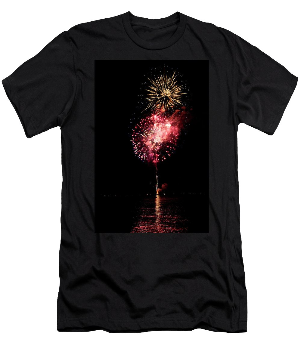 American Culture Men's T-Shirt (Athletic Fit) featuring the photograph Fireworks Are Shot Off Over Lake Tahoe by Keri Oberly