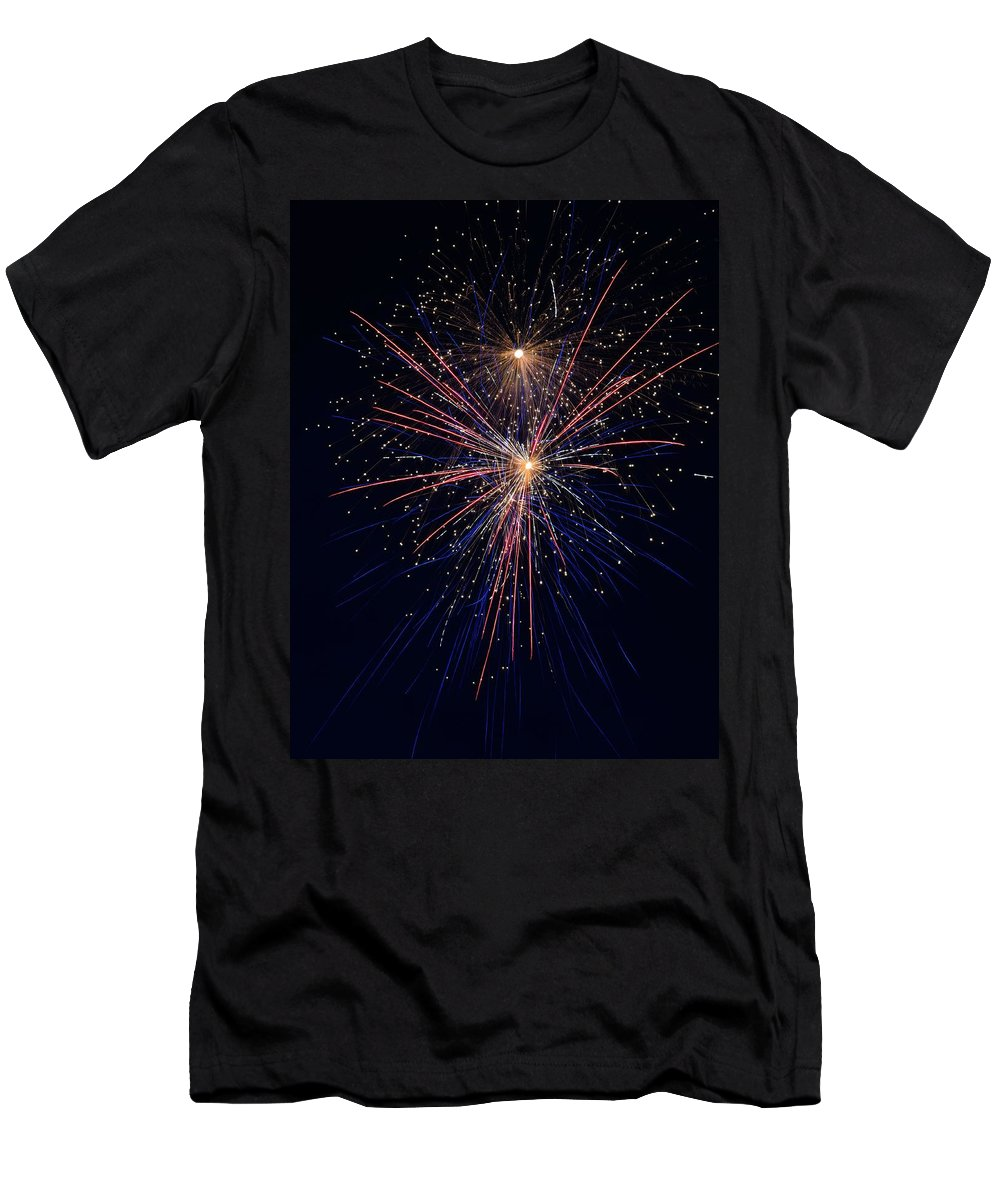 Fireworks Men's T-Shirt (Athletic Fit) featuring the photograph Fireworks by David Hart