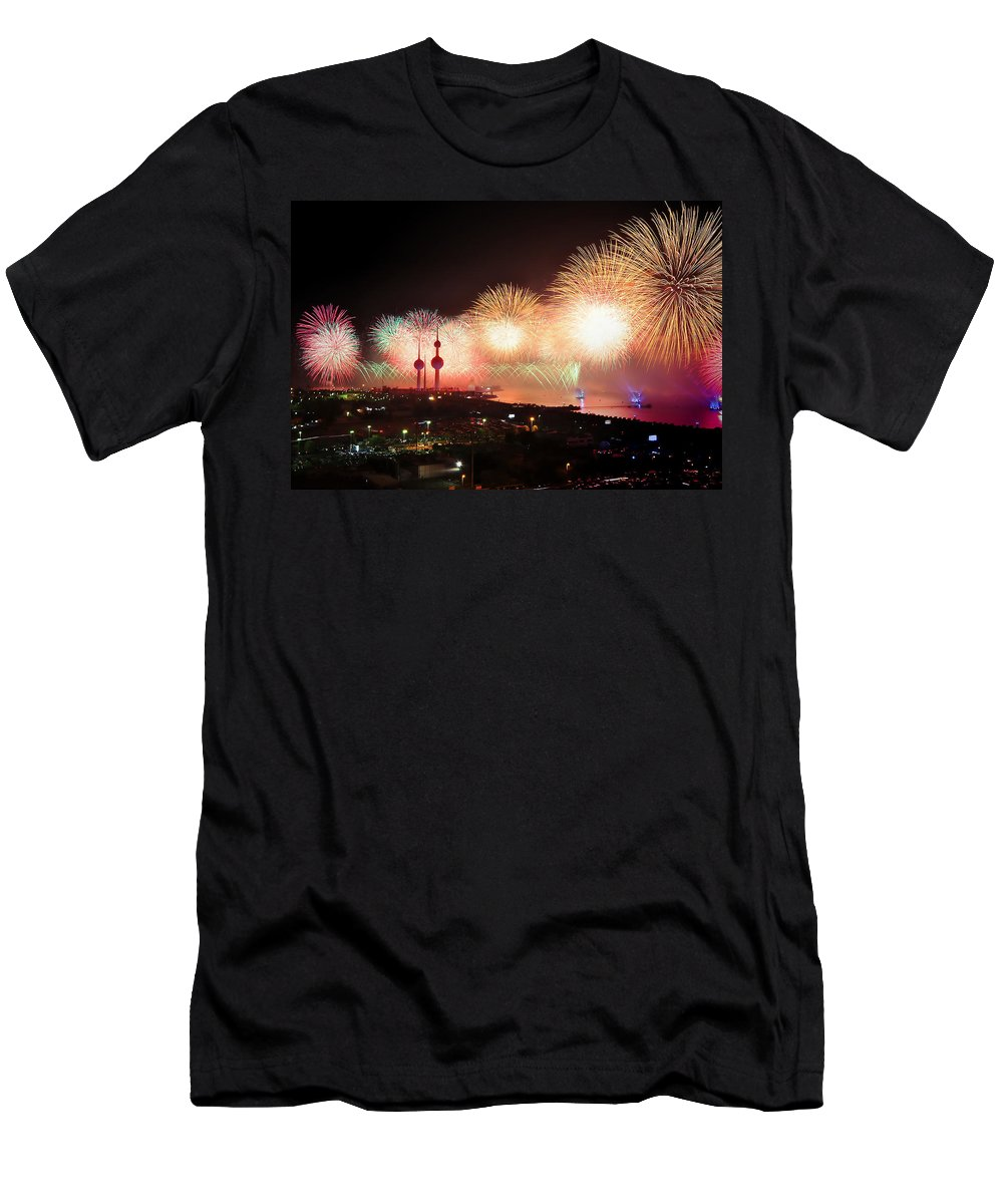 Kuwait City Men's T-Shirt (Athletic Fit) featuring the photograph Fireworks Over Kuwait City by Pixabay