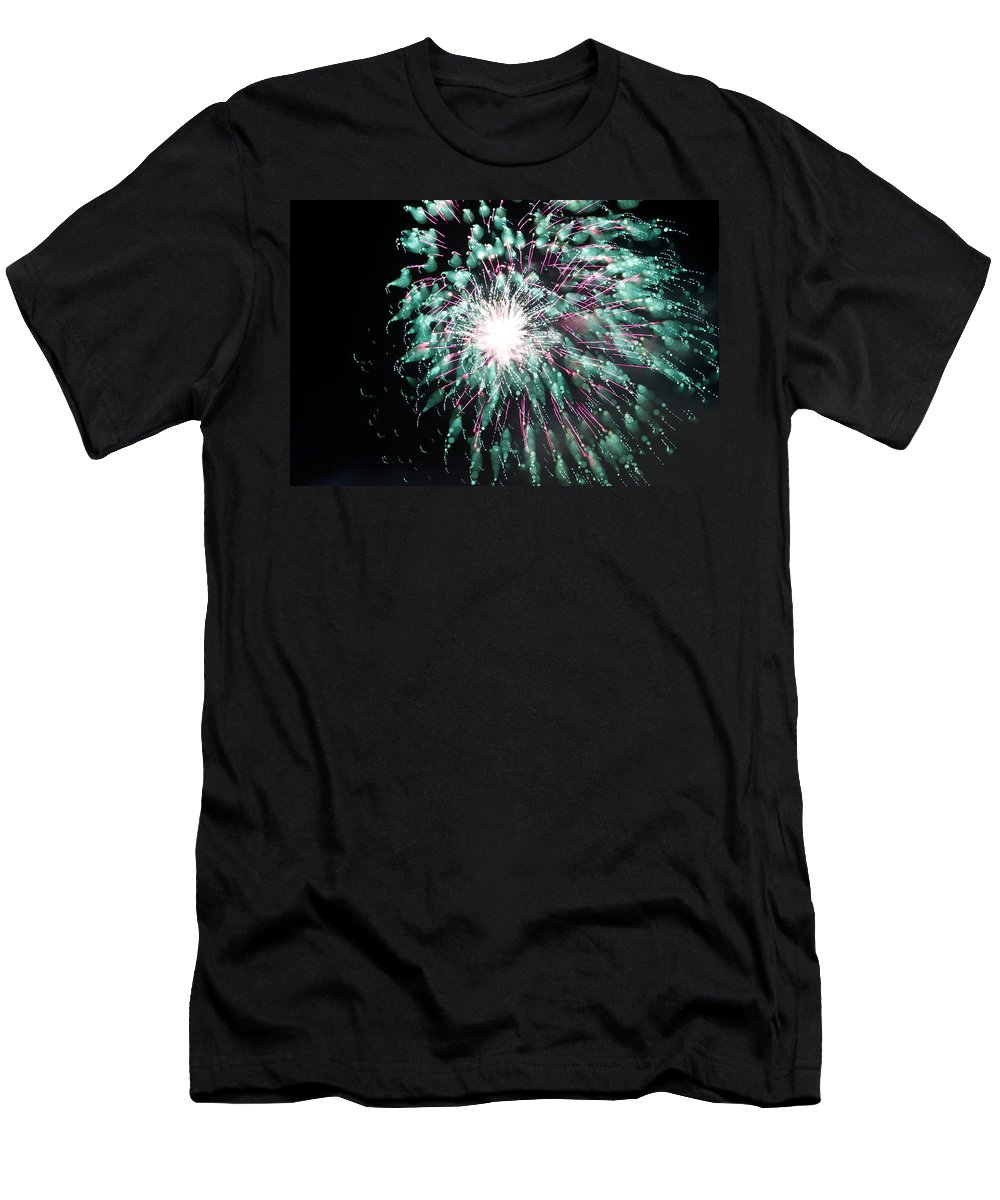 Fireworks Men's T-Shirt (Athletic Fit) featuring the photograph Fireworks Splendor by Alice Gipson