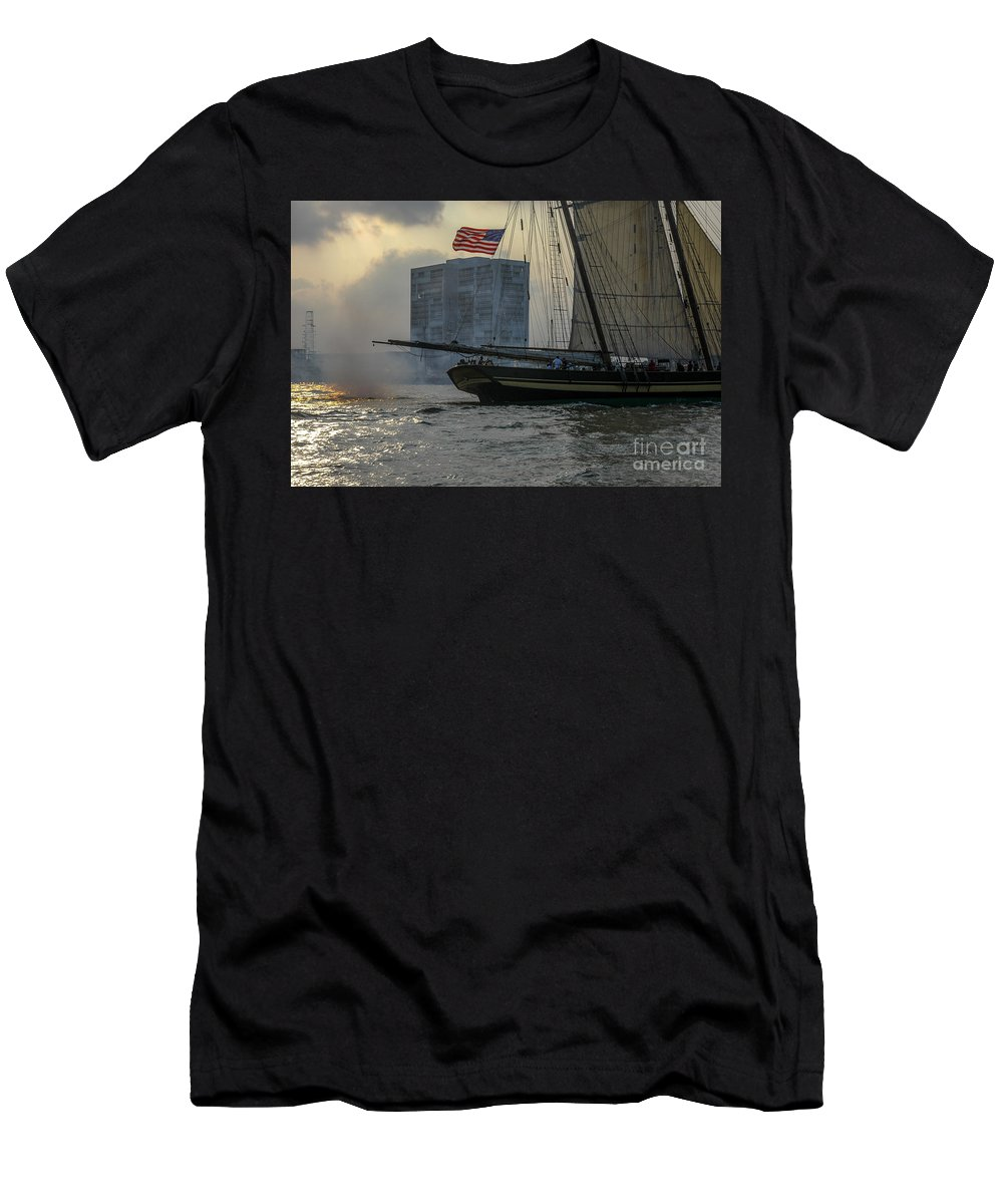 Tall Ships Men's T-Shirt (Athletic Fit) featuring the photograph Firing Cannon by Dale Powell