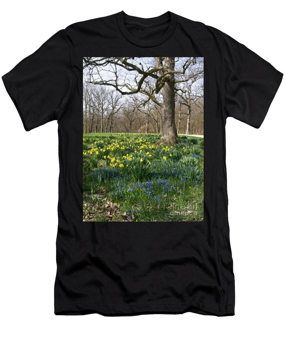 Daffodil Men's T-Shirt (Athletic Fit) featuring the photograph First Burst by Laurie Eve Loftin