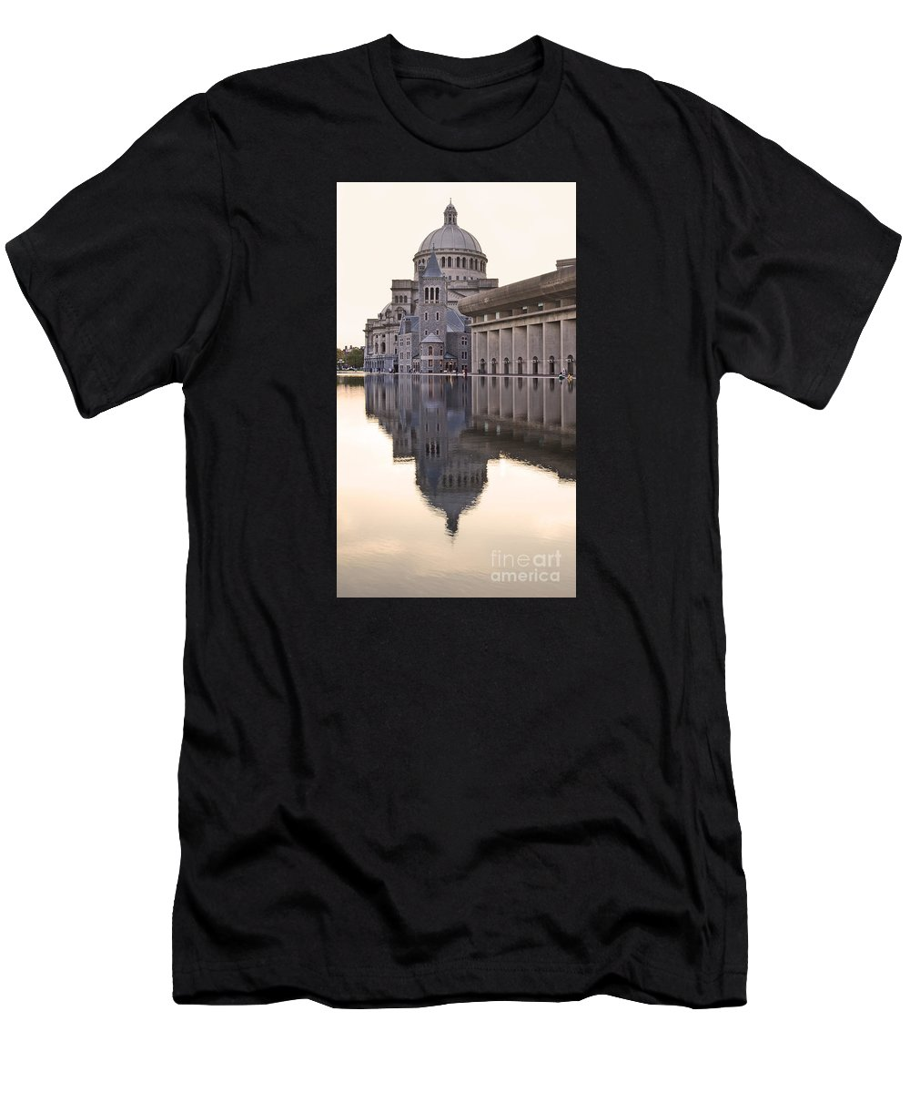 Christian Science Centre Men's T-Shirt (Athletic Fit) featuring the photograph First Church Of Christ Scientist Boston by Liz Leyden
