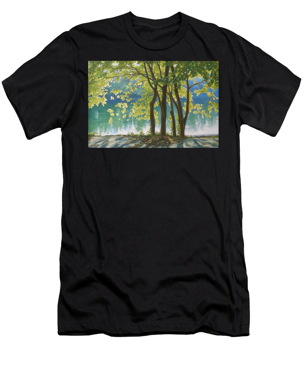 Landscape Men's T-Shirt (Athletic Fit) featuring the painting First Day Of Autumn by Olena Lopatina