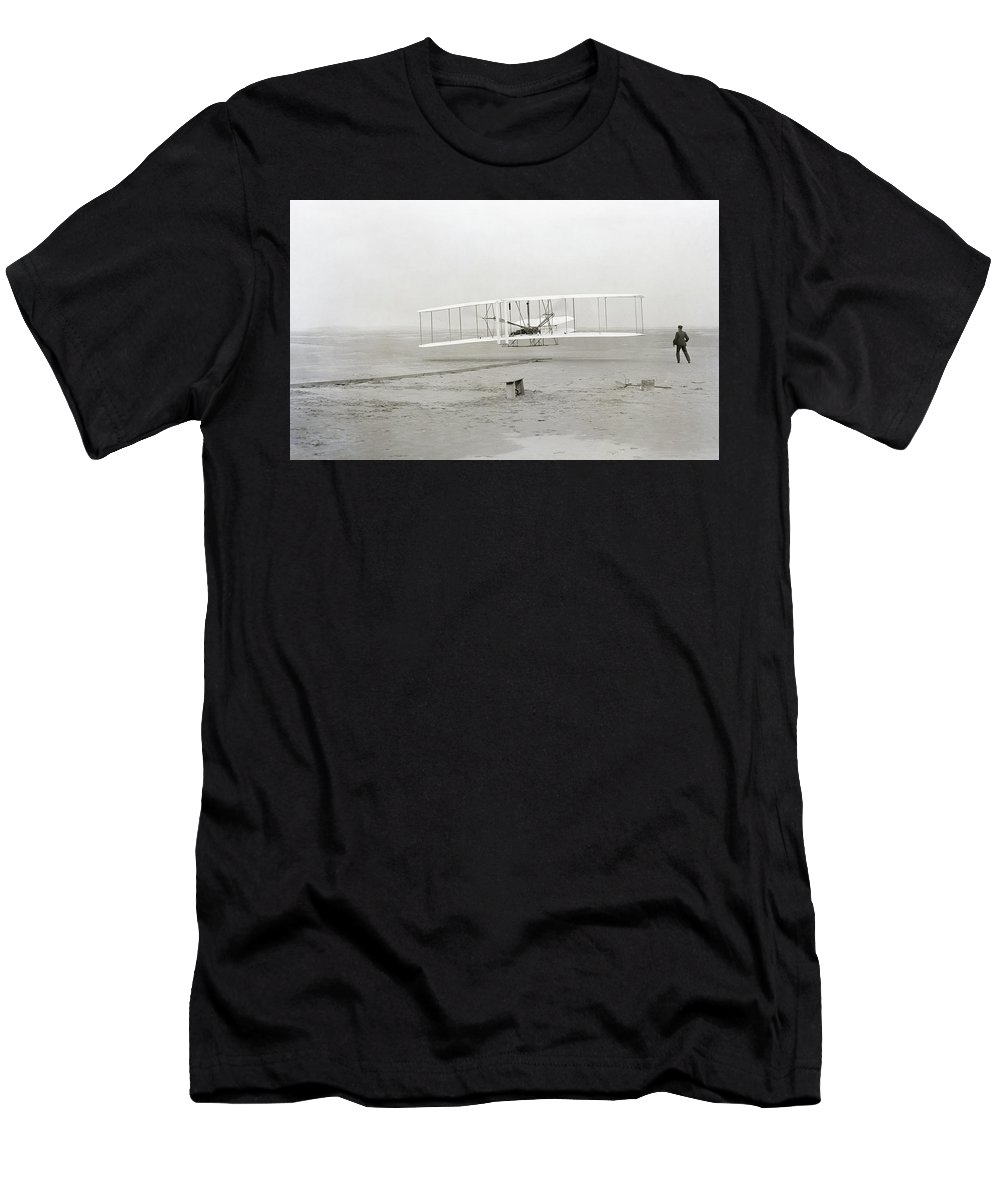 wright Brothers Men's T-Shirt (Athletic Fit) featuring the photograph First Flight Captured On Glass Negative - 1903 by Daniel Hagerman