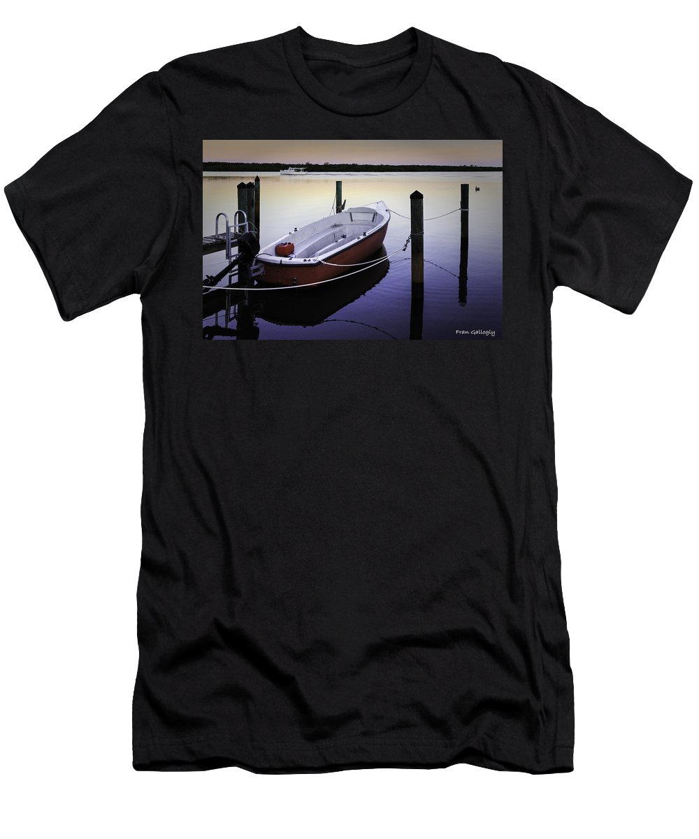 Boat Men's T-Shirt (Athletic Fit) featuring the photograph Fishing Boat At Dawn by Fran Gallogly