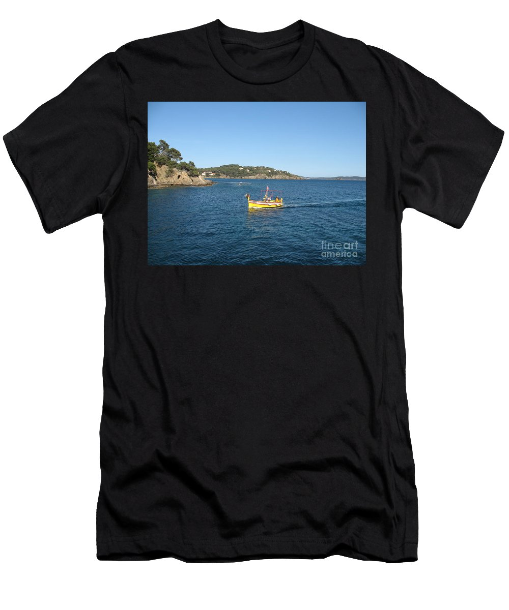 Boat Men's T-Shirt (Athletic Fit) featuring the photograph Fishing Boat - Cote D'azur by Christiane Schulze Art And Photography