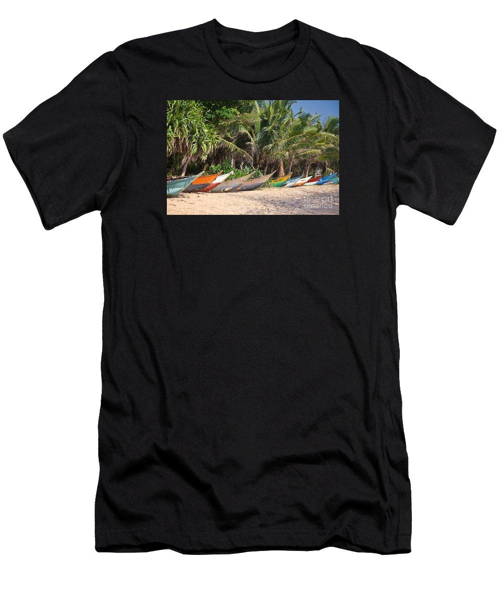 Mirissa Men's T-Shirt (Athletic Fit) featuring the photograph Fishing Boats B Mirissa Beach by Liz Leyden