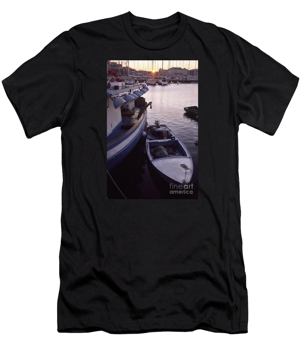 Trieste Men's T-Shirt (Athletic Fit) featuring the photograph Fishing Boats by Riccardo Mottola