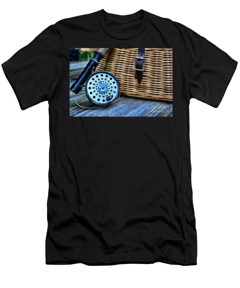 Paul Ward Men's T-Shirt (Athletic Fit) featuring the photograph Fishing - Fly Fishing by Paul Ward