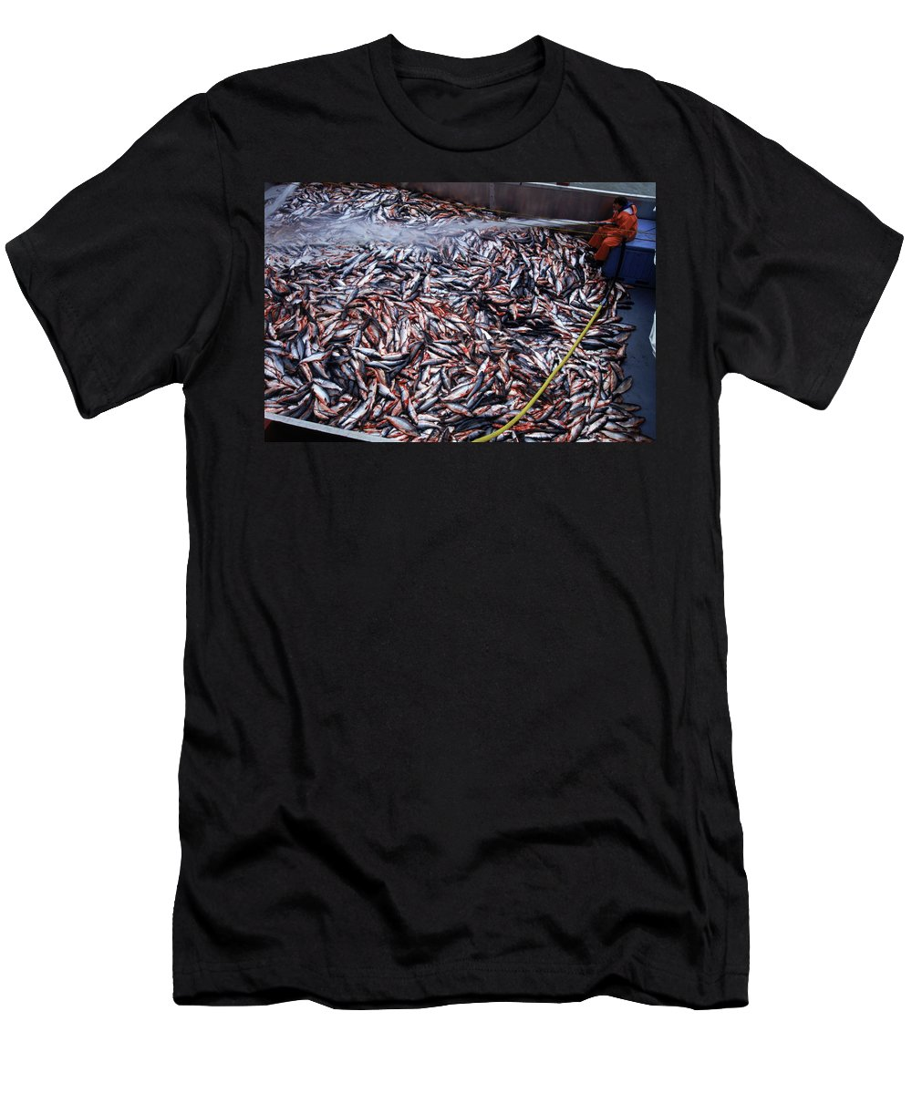 Bay Men's T-Shirt (Athletic Fit) featuring the photograph Fishing In Maine by Robb Kendrick