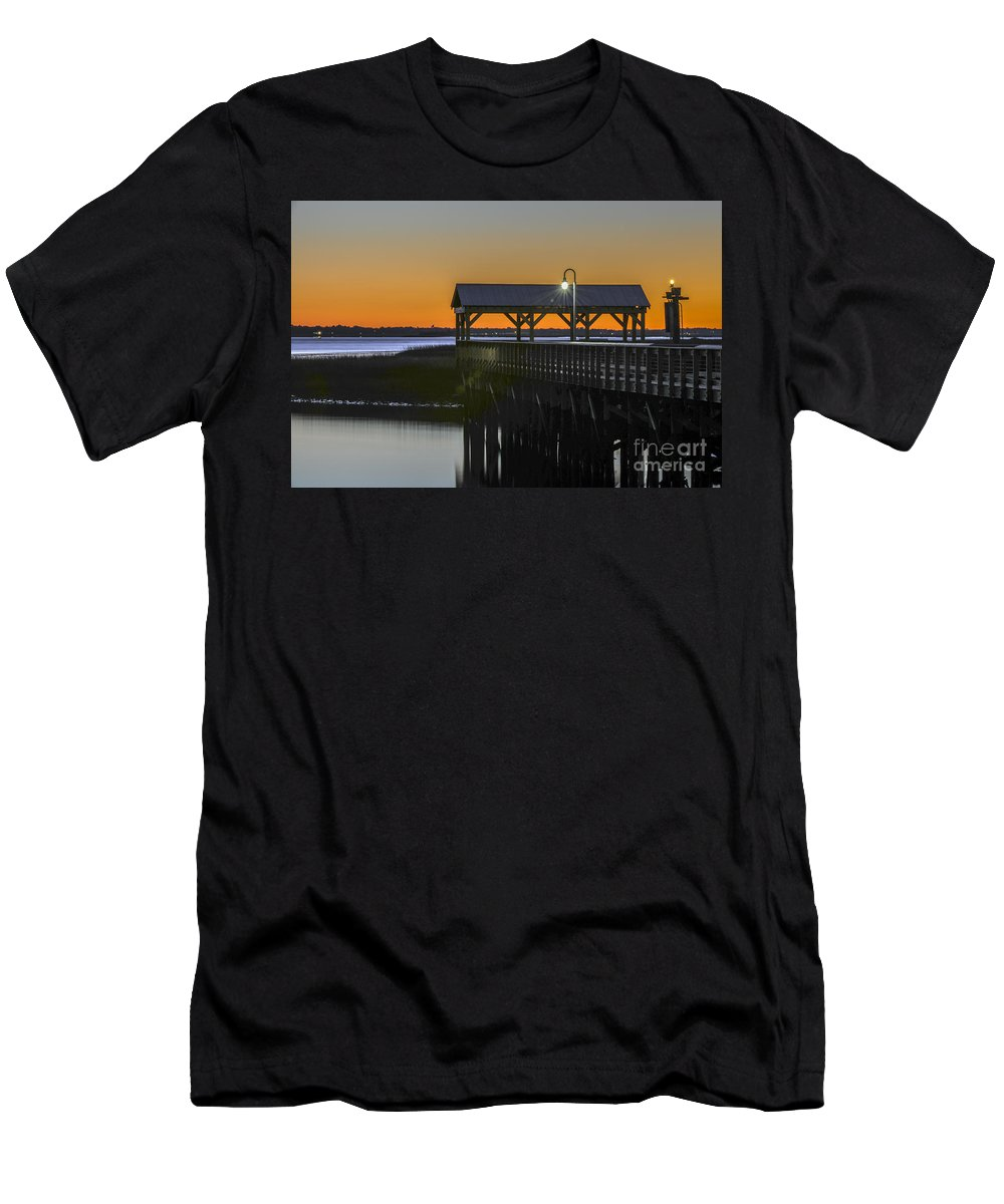 Dusk Men's T-Shirt (Athletic Fit) featuring the photograph Fishing Pier At Dusk by Dale Powell