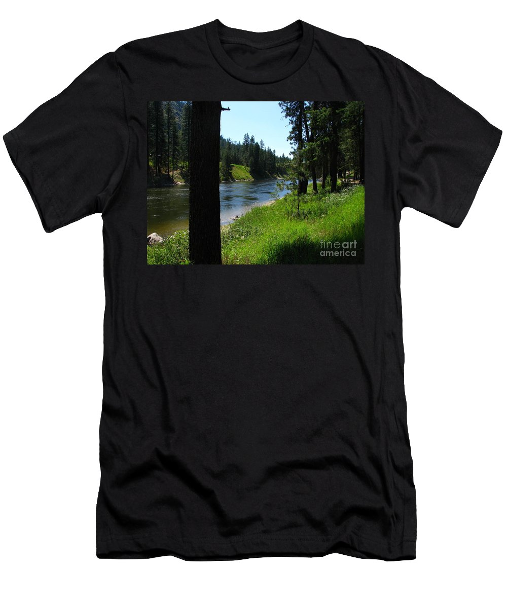 Art For The Wall...patzer Photography Men's T-Shirt (Athletic Fit) featuring the photograph Fishing Spot 1 by Greg Patzer