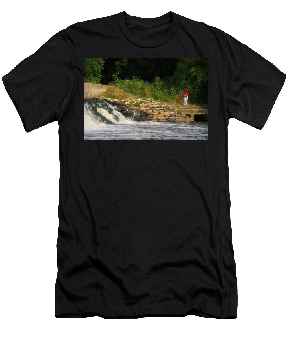 Marsh Men's T-Shirt (Athletic Fit) featuring the photograph Fishing The Spillway by Thomas Woolworth