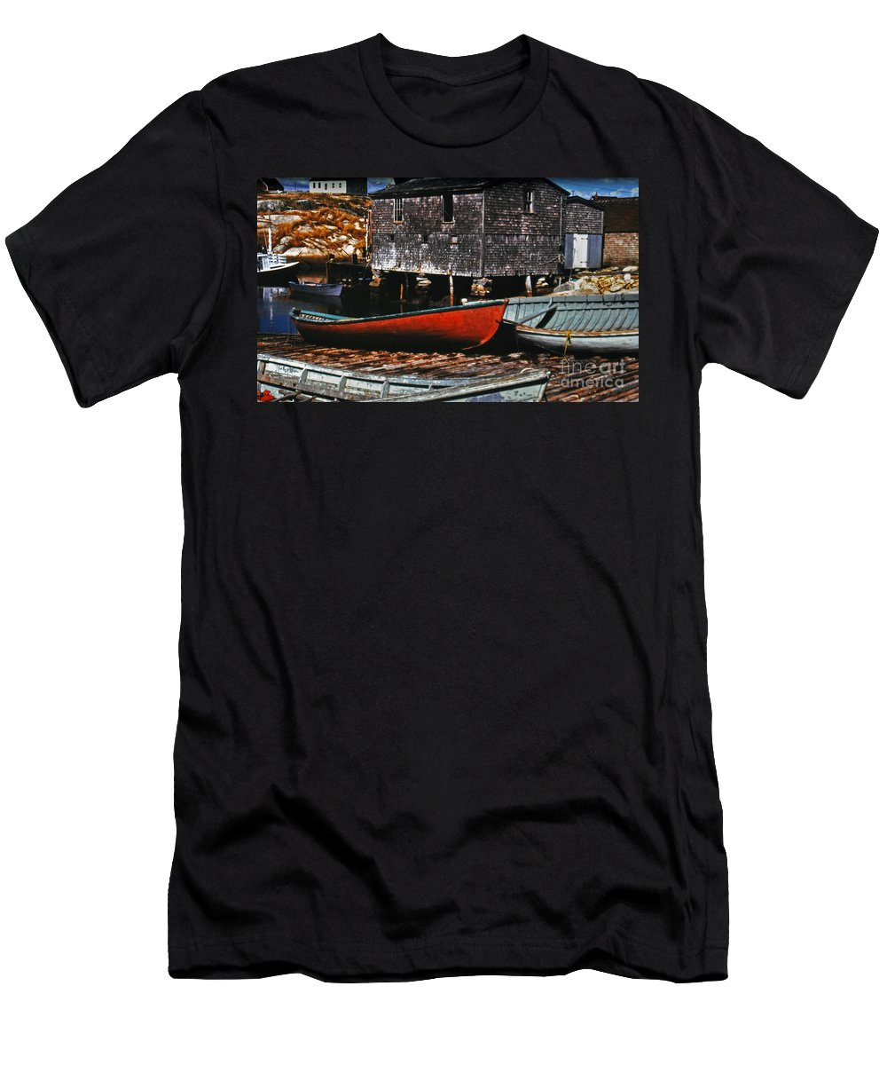 Boats Men's T-Shirt (Athletic Fit) featuring the photograph Fishing Village by Lydia Holly