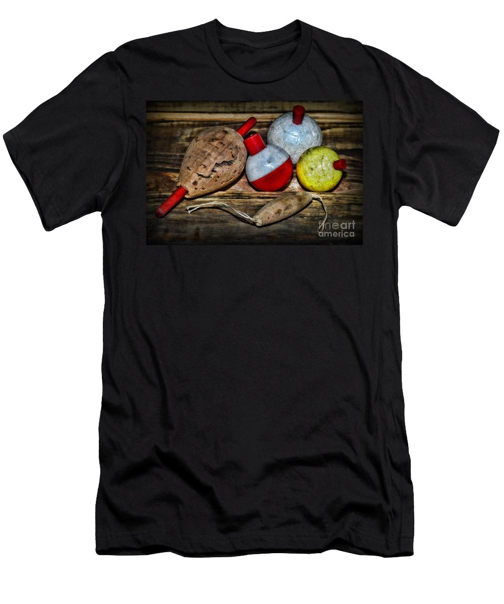 Paul Ward Men's T-Shirt (Athletic Fit) featuring the photograph Fishing - Vintage Fish Bobbers by Paul Ward