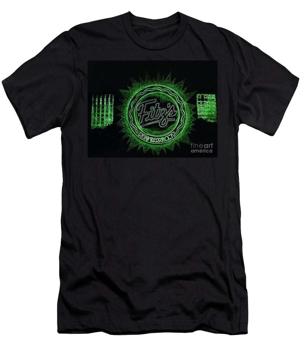 Men's T-Shirt (Athletic Fit) featuring the photograph Fitz's In Green Neon by Kelly Awad