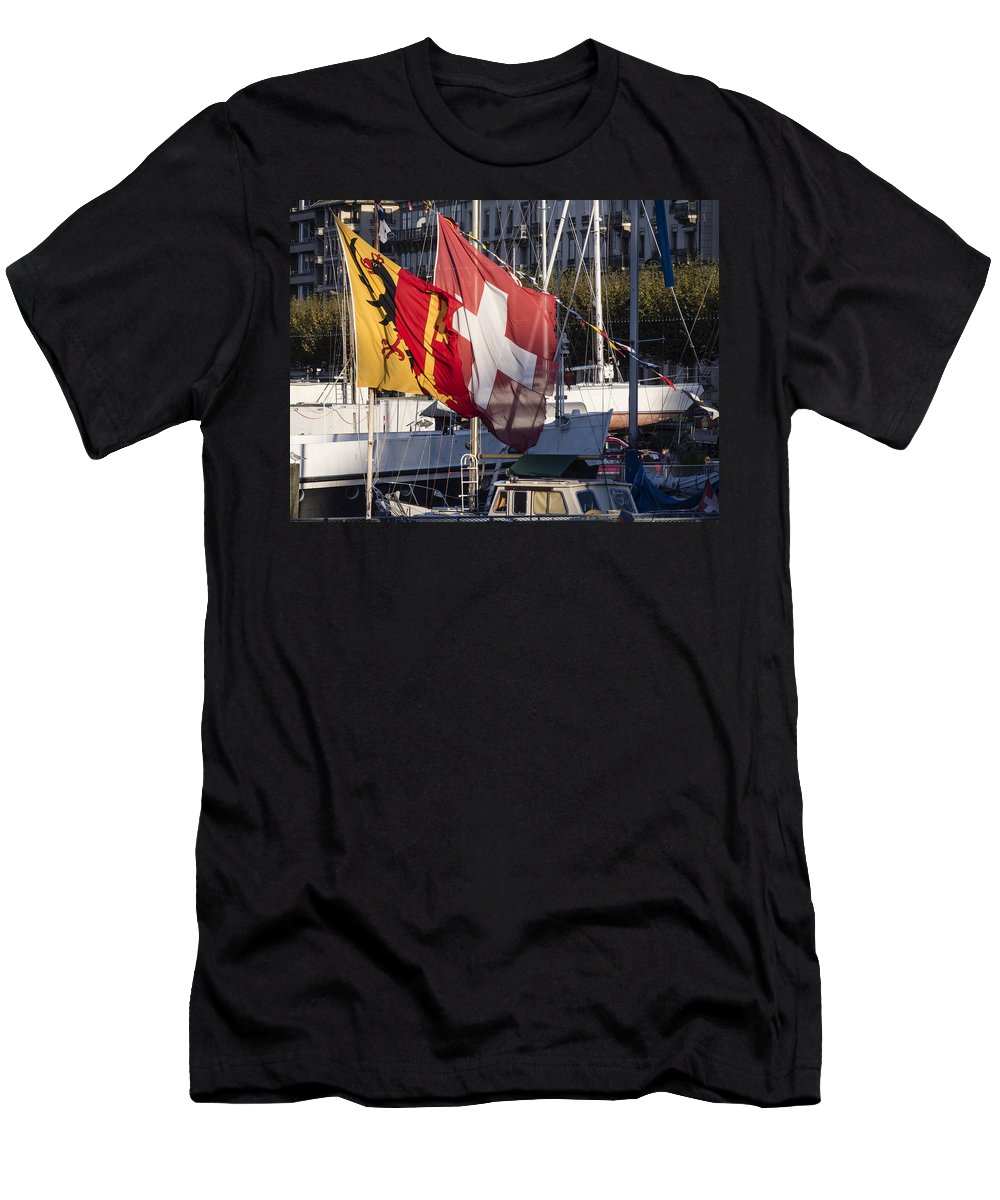 Geneva Men's T-Shirt (Athletic Fit) featuring the photograph Flags by Muhie Kanawati
