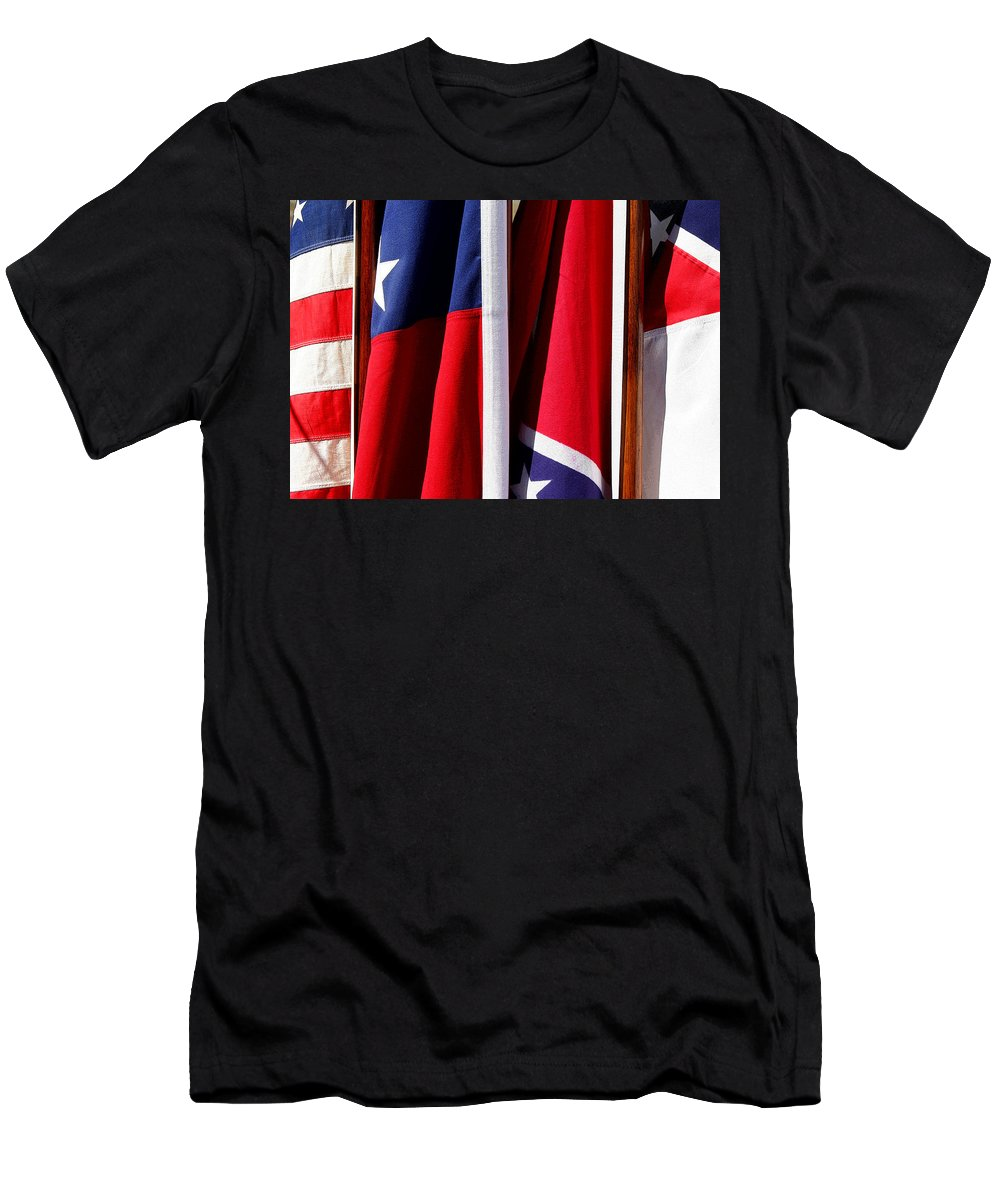 Flag Men's T-Shirt (Athletic Fit) featuring the photograph Flags Of The North And South by Joe Kozlowski