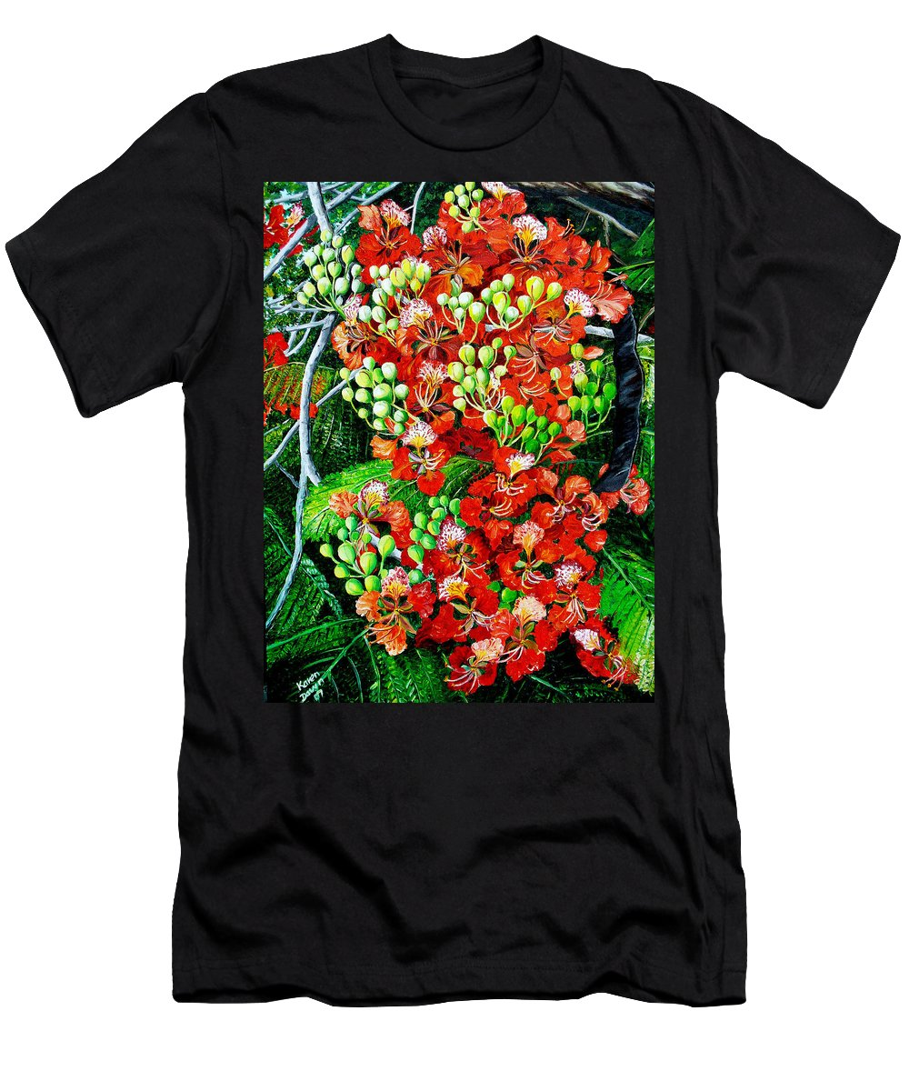 Royal Poincianna Painting Flamboyant Painting Tree Painting Botanical Tree Painting Flower Painting Floral Painting Bloom Flower Red Tree Tropical Paintinggreeting Card Painting Men's T-Shirt (Athletic Fit) featuring the painting Flamboyant In Bloom by Karin Dawn Kelshall- Best