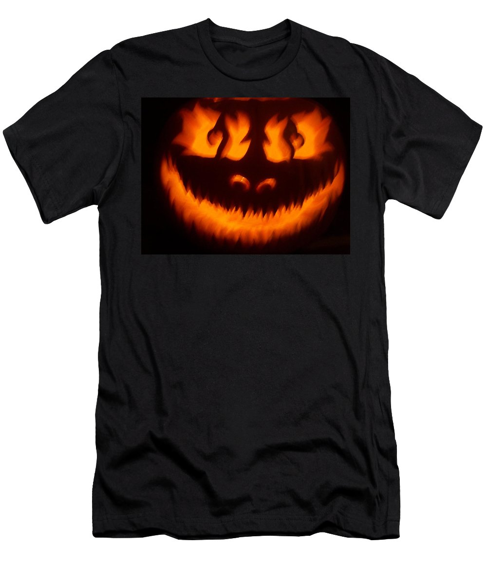 Pumpkin Men's T-Shirt (Athletic Fit) featuring the sculpture Flame Pumpkin by Shawn Dall