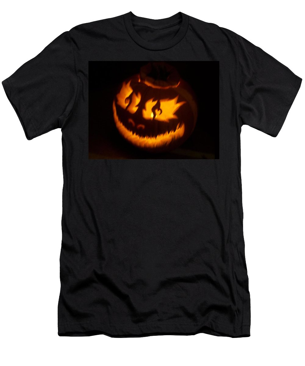 Pumpkin Men's T-Shirt (Athletic Fit) featuring the photograph Flame Pumpkin Side by Shawn Dall