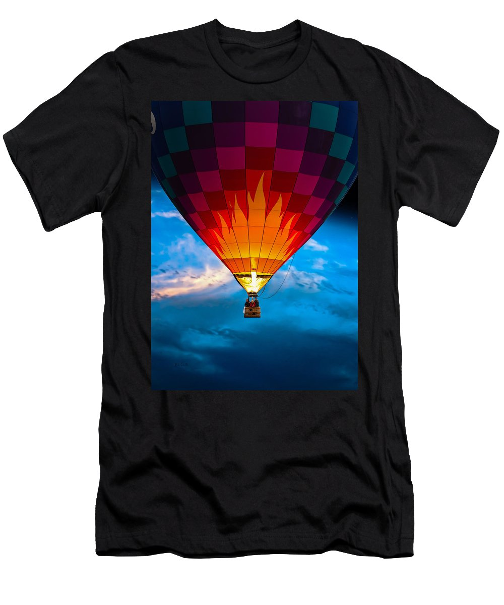 Hot Air Balloon Men's T-Shirt (Athletic Fit) featuring the photograph Flame With Flame by Bob Orsillo