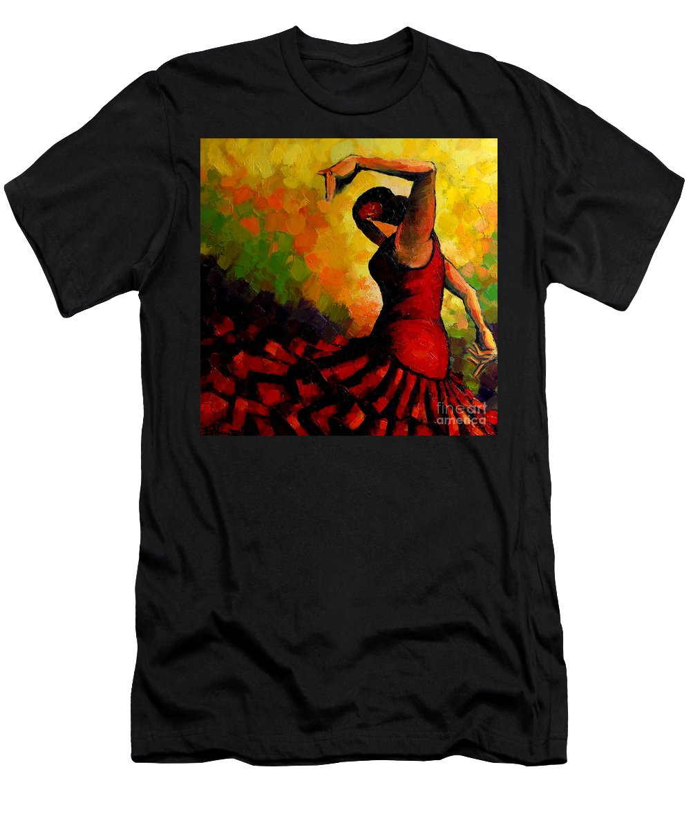Flamenco Men's T-Shirt (Athletic Fit) featuring the painting Flamenco by Mona Edulesco