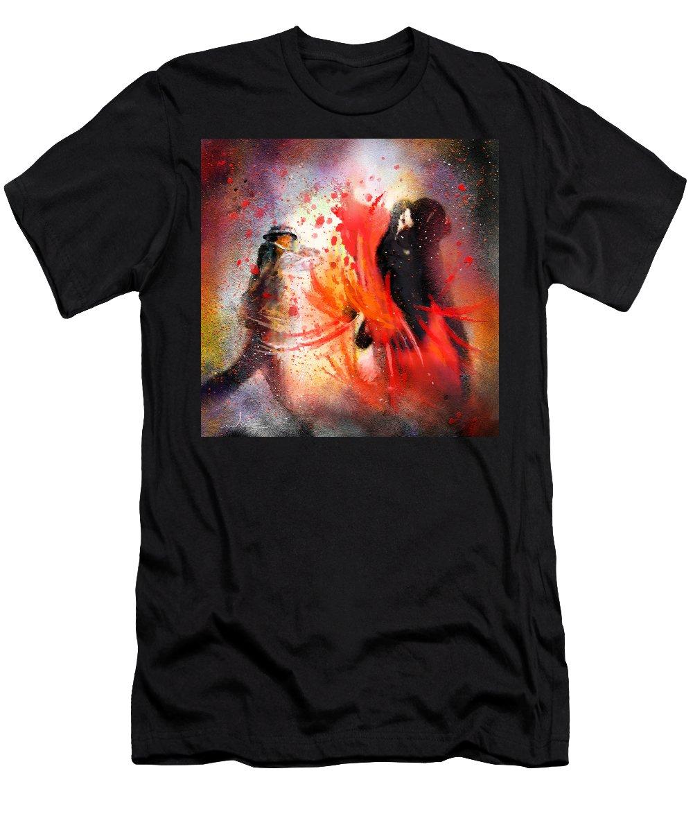 Flamenco Dance Men's T-Shirt (Athletic Fit) featuring the painting Flamencoscape 07 by Miki De Goodaboom