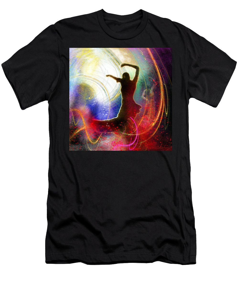 Flamenco Men's T-Shirt (Athletic Fit) featuring the painting Flamencoscape 16 by Miki De Goodaboom