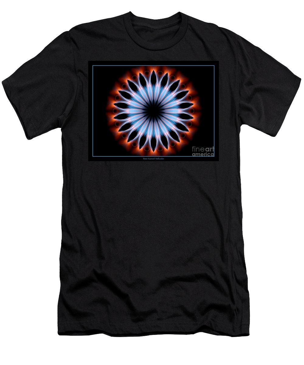 Flames Men's T-Shirt (Athletic Fit) featuring the photograph Flames Kaleidoscope 1 by Rose Santuci-Sofranko