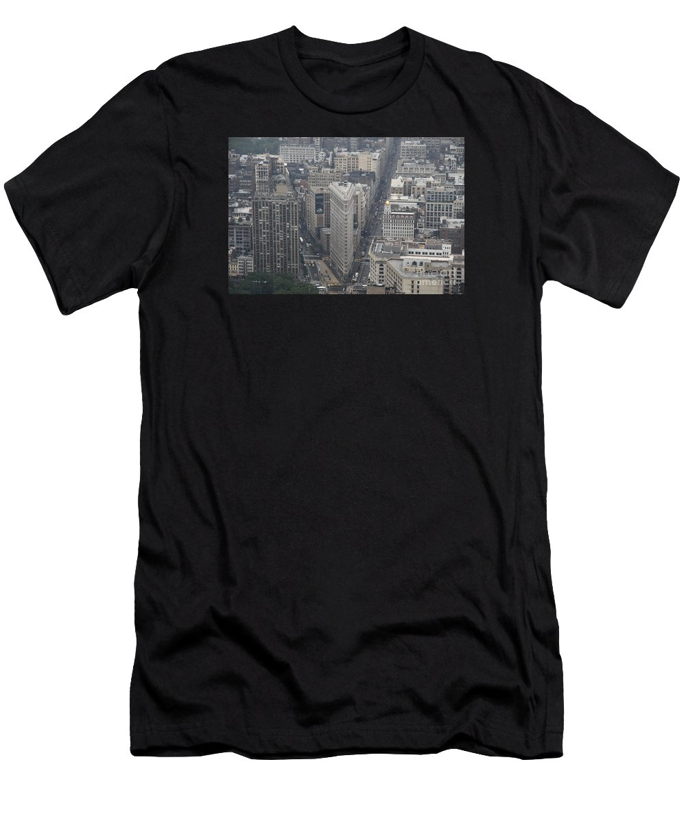 View Men's T-Shirt (Athletic Fit) featuring the photograph Flat Iron From Above Nyc by Christiane Schulze Art And Photography