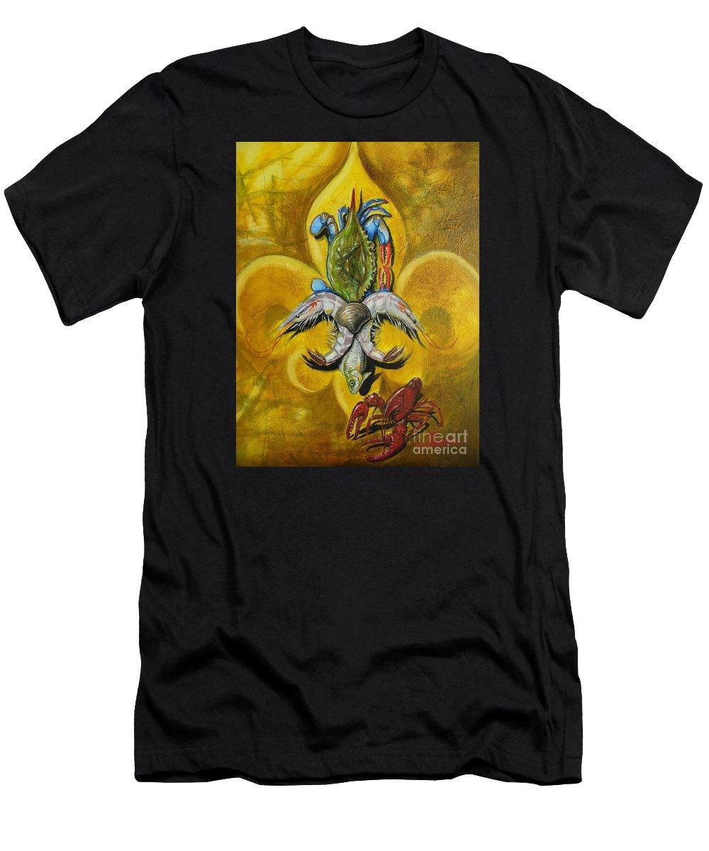 Fleur De Lis Men's T-Shirt (Athletic Fit) featuring the painting Fleur De Lis by Theon Guillory