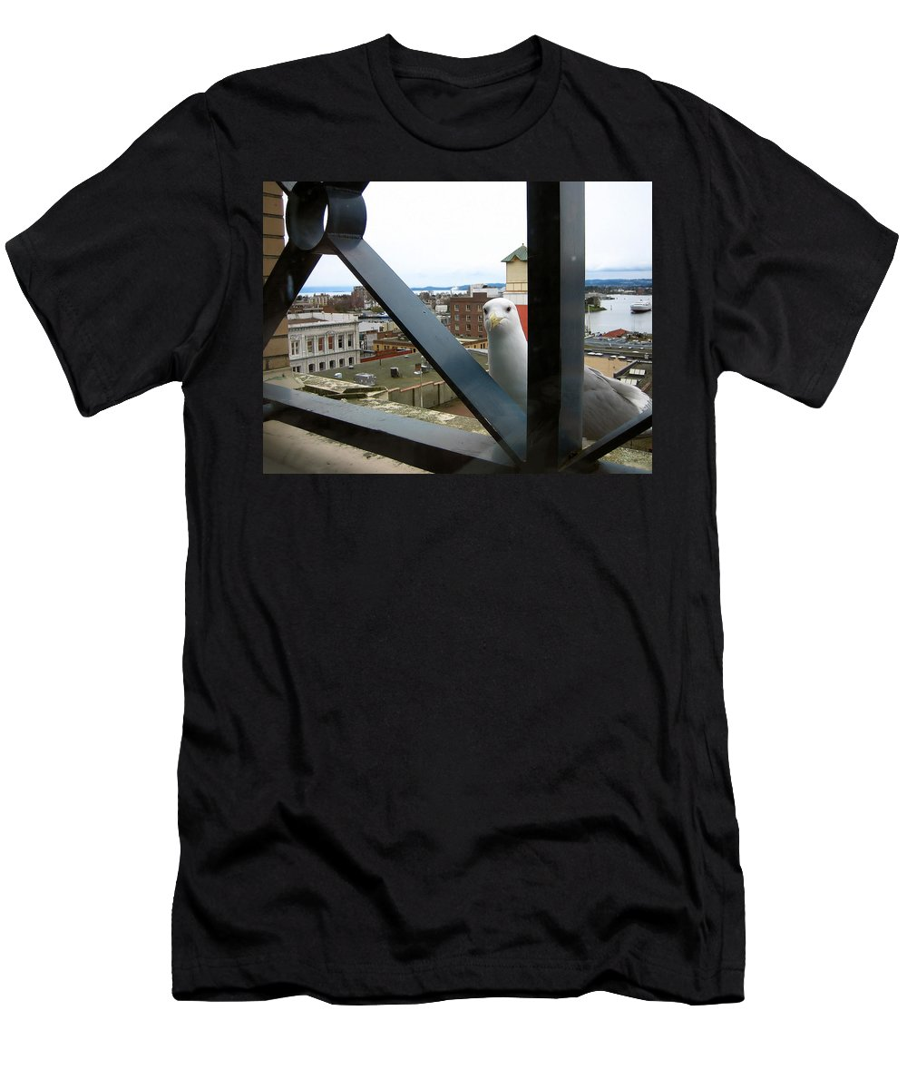 Seagull Men's T-Shirt (Athletic Fit) featuring the photograph Flew In For Lunch by Cheryl Hoyle