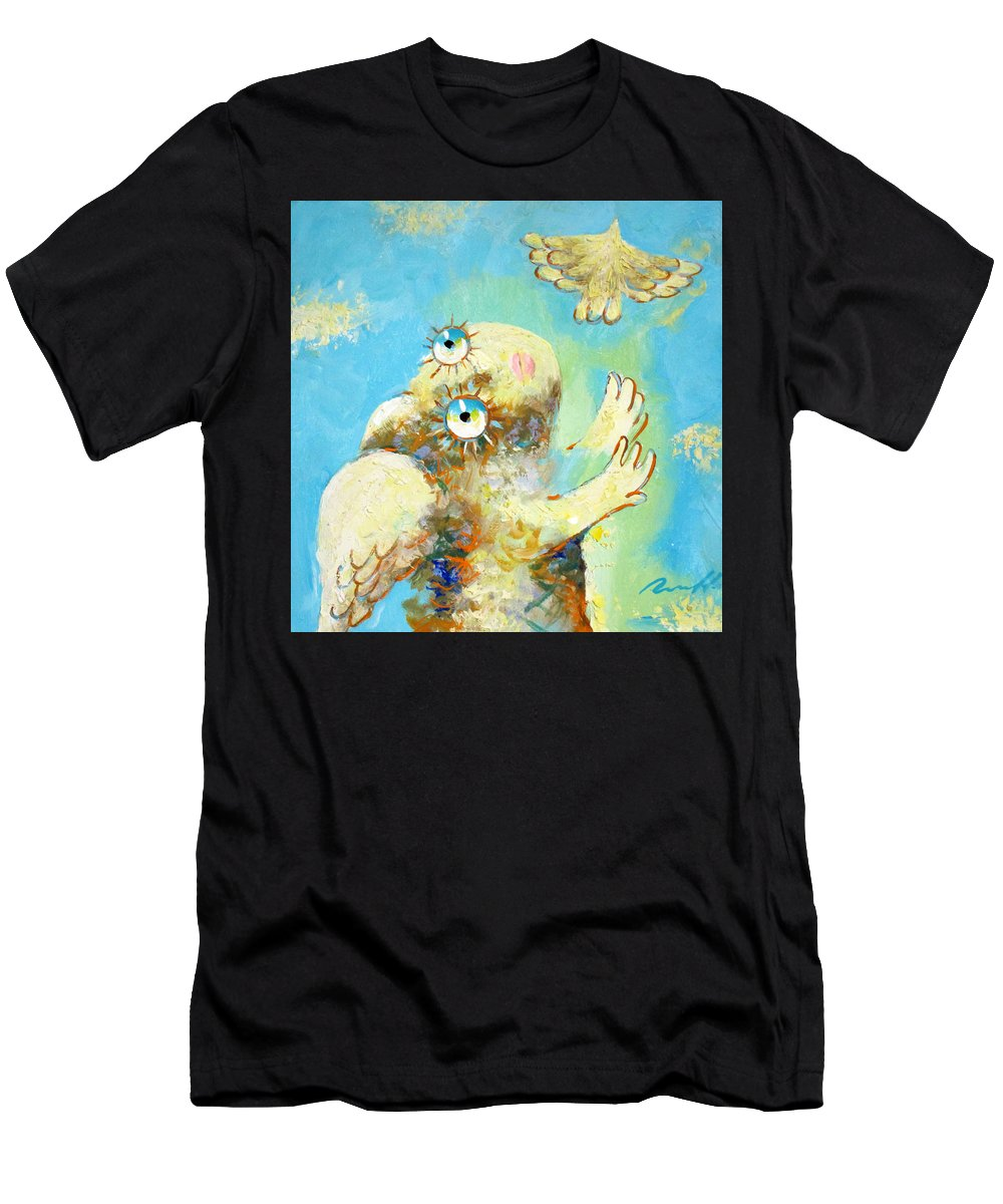 Flight Men's T-Shirt (Athletic Fit) featuring the painting Flight by Sergey Lipovtsev