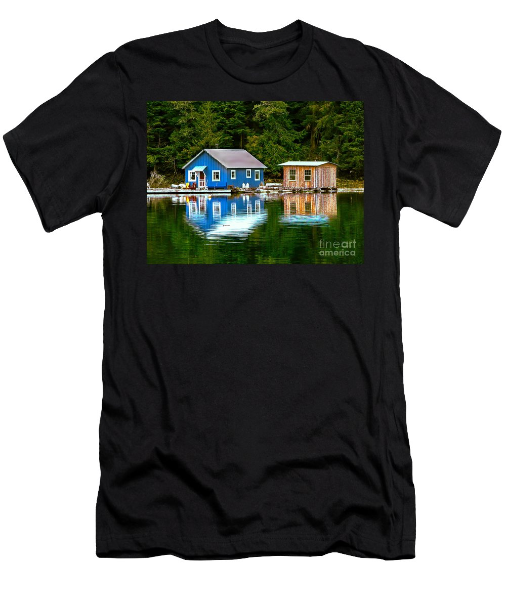 Floating Men's T-Shirt (Athletic Fit) featuring the photograph Floating Cabin by Robert Bales