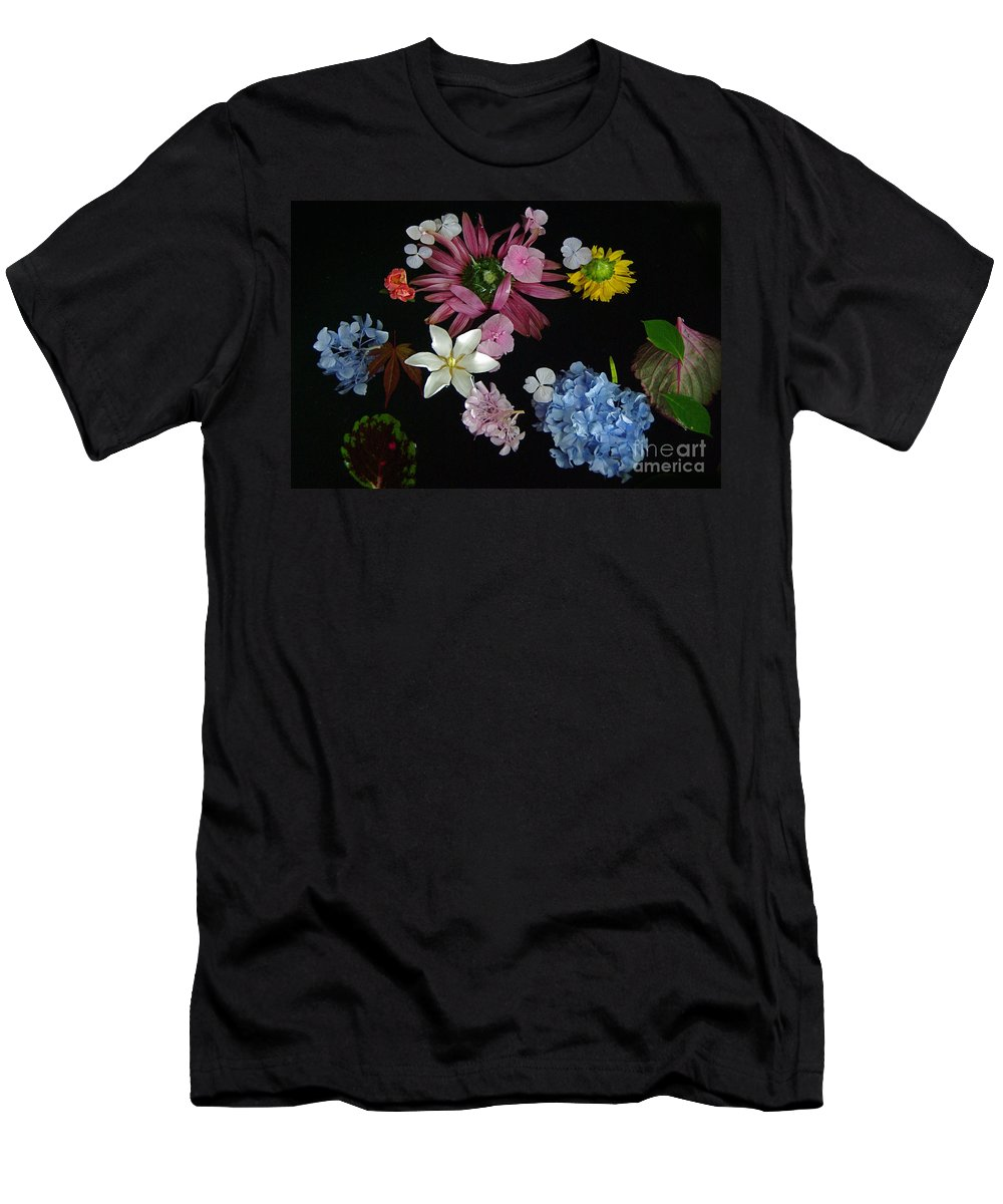 Floating Flowers Men's T-Shirt (Athletic Fit) featuring the photograph Floating Flowers by Byron Varvarigos