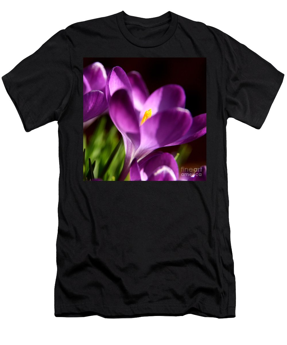 Flower Photography Men's T-Shirt (Athletic Fit) featuring the photograph Floral Shadows by Neal Eslinger