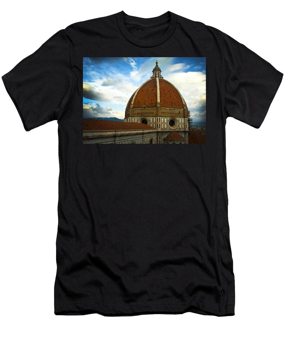 Italy Men's T-Shirt (Athletic Fit) featuring the photograph Florence Duomo Italy by Pam Elliott