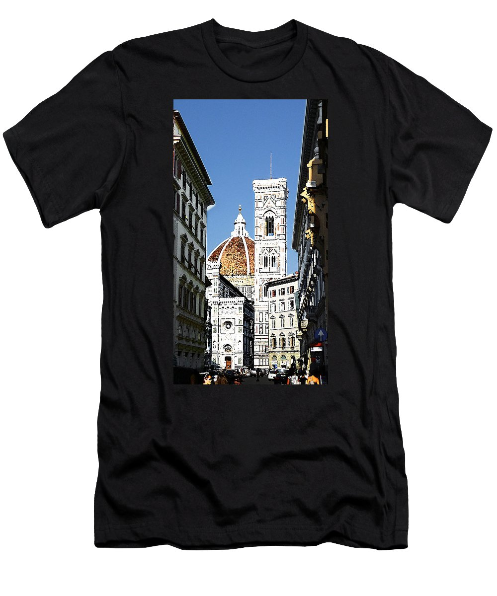 Florence Men's T-Shirt (Athletic Fit) featuring the photograph Florence Italy Santa Maria Fiori Duomo by Irina Sztukowski