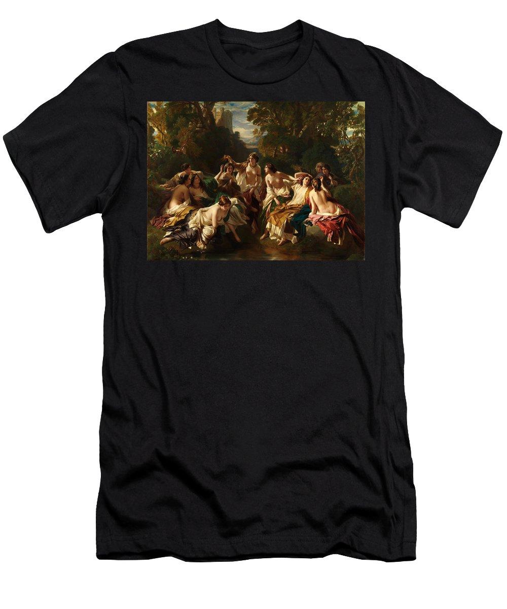Franz Xaver Winterhalter Men's T-Shirt (Athletic Fit) featuring the painting Florinda by Franz Xaver Winterhalter