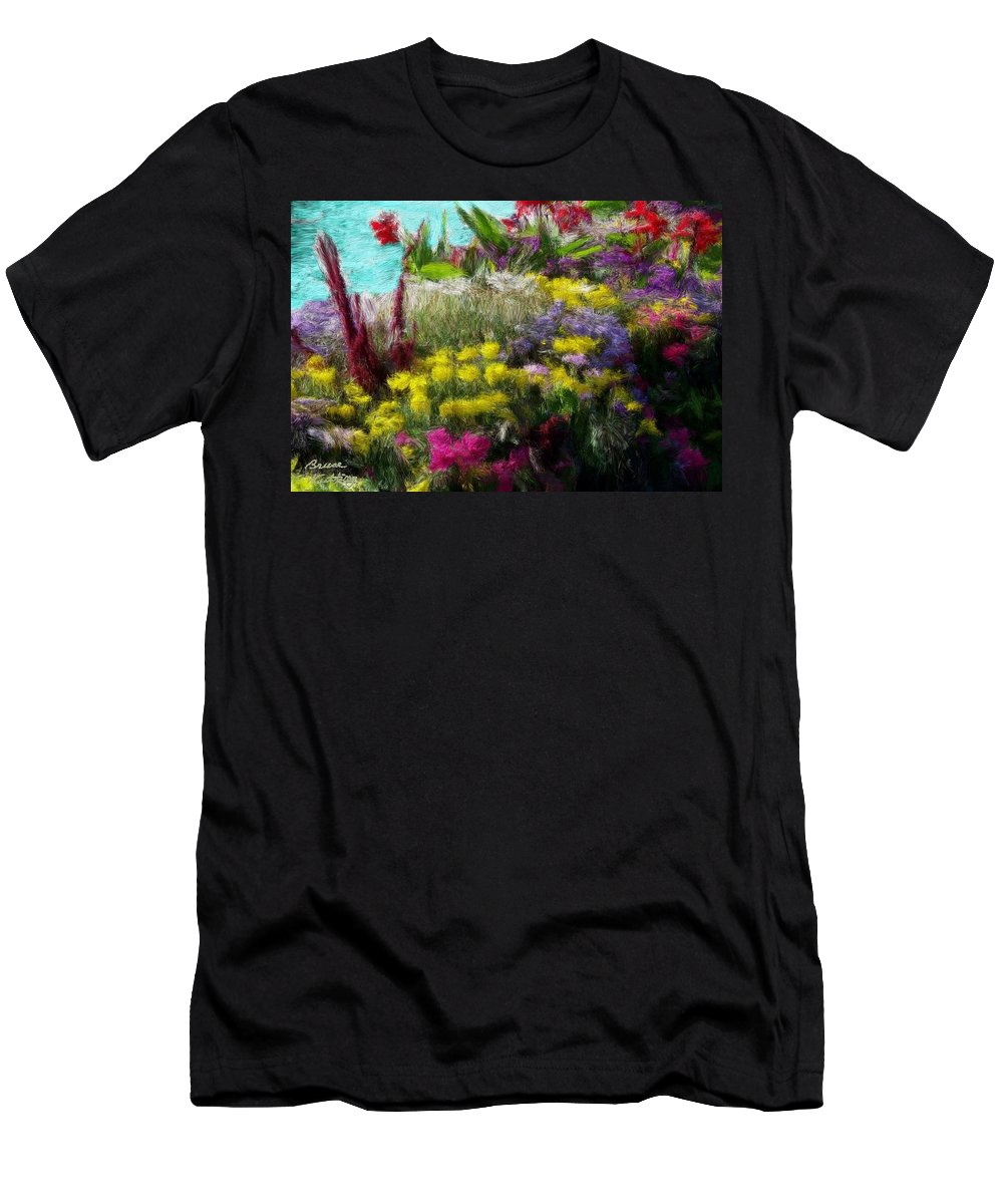 Color Men's T-Shirt (Athletic Fit) featuring the painting Flower Arrangement by Bruce Nutting
