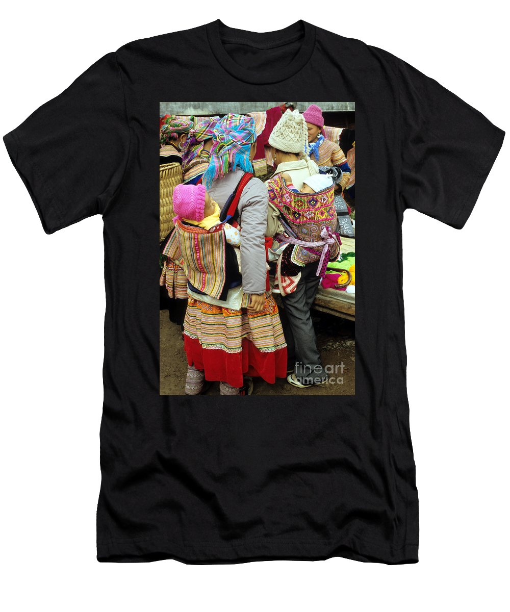 Vietnam Men's T-Shirt (Athletic Fit) featuring the photograph Flower Hmong Mothers And Babies by Rick Piper Photography